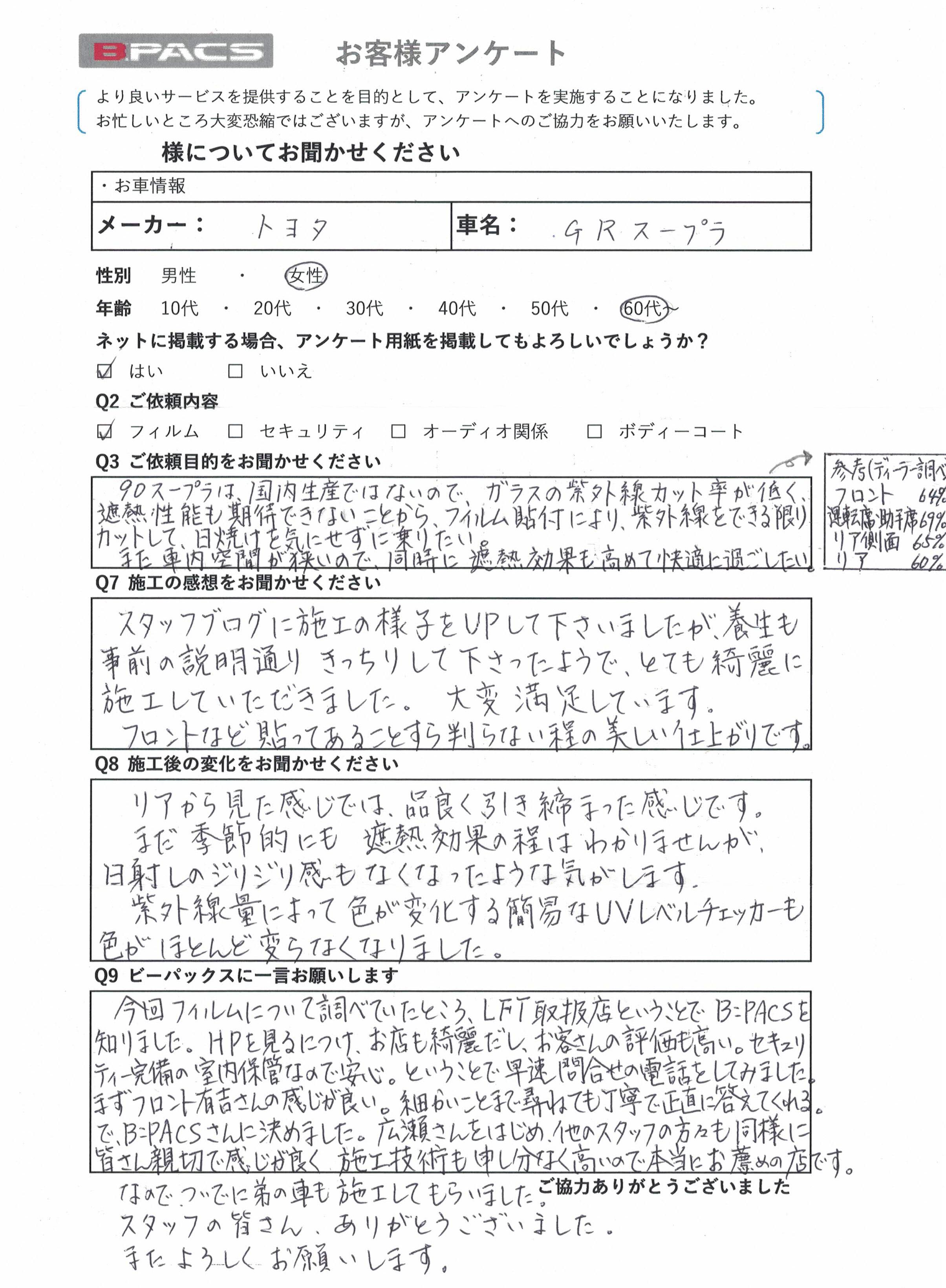 ビーパックスへのクチコミ/お客様の声:K.N. 様(愛知県刈谷市)/トヨタ GRスープラ