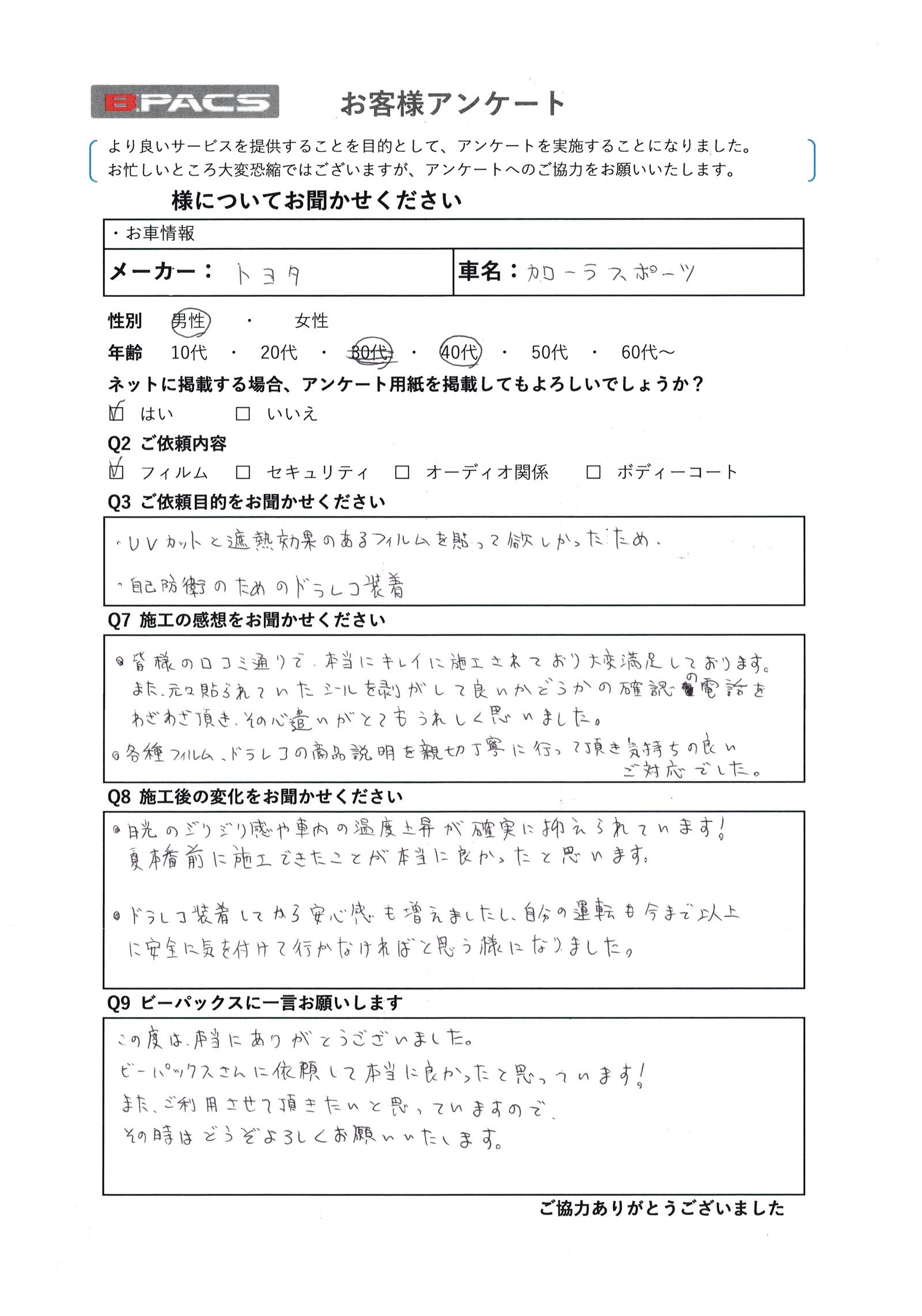 ビーパックスへのクチコミ/お客様の声:I.A. 様(京都市右京区)/トヨタ カローラスポーツ